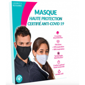 Masque de Protection Enfant Tissu au Cuivre Lavable catégorie 1 taille M 10-16 ans noir 60 lavages
