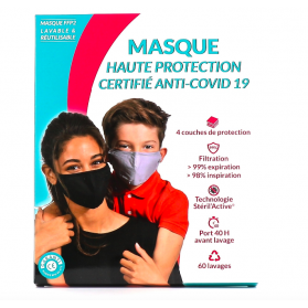 Masque de Protection Enfant Tissu au Cuivre Lavable catégorie 1 taille S 6-11 ans bleu 60 lavages