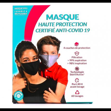 MASQUE LAVABLE HAUTE PROTECTION TAILLE S 6-11 ANS BLEU PASTEL 60 LAVAGES