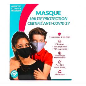 Masque de Protection Enfant Tissu Lavable catégorie 1 taille S 6-11 ans noir 60 lavages