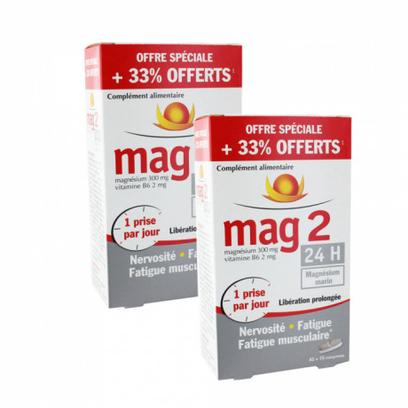 MAG 2 24H magnesium marin lot de 2 x 60 comprimés
