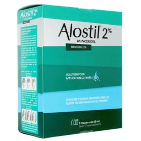 ALOSTIL 2 pour cent solution pour application cutanée Minoxidil 60ml x3