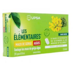 UPSA Les élémentaires Maux de gorge aigus 20 pastilles