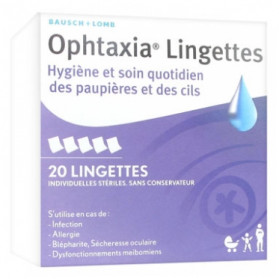 Bausch + Lomb Ophtaxia 20 Lingettes