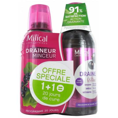 Milical Draineur Ultra Lot de 2 x 500 ml - Saveur : Cassis