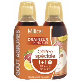 Milical Draineur Ultra Lot de 2 x 500 ml - Saveur : Agrumes