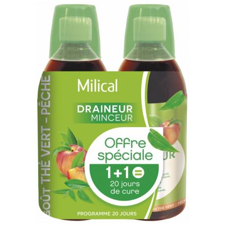 Milical Draineur Ultra Lot de 2 x 500 ml - Saveur : Thé vert / Pêche