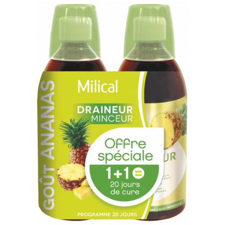 Milical Draineur Ultra Lot de 2 x 500 ml - Saveur : Ananas