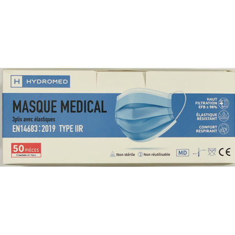 Masque chirurgical type IIR adulte boite de 50 pieces