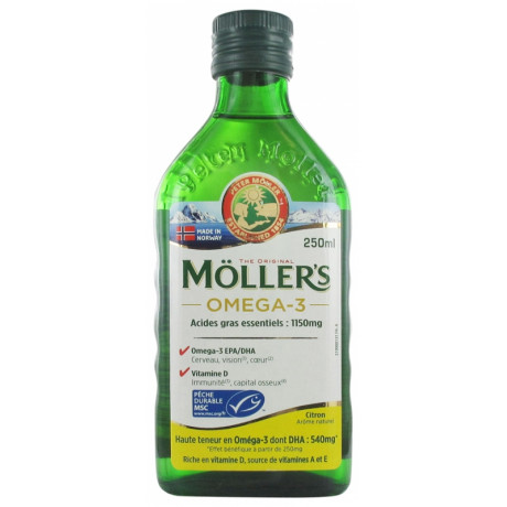 Möller's Omega-3 Huile de Foie de Morue Arôme Citron 250 ml