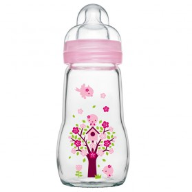 MAM biberon verre 260ml Opaque & Quarz Rose