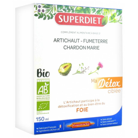 Super Diet Ma Détox Ciblée Foie Bio 10 Ampoules
