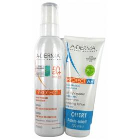 A-derma protect spray très haute protection 50+ 200ml + Lait réparateur après-soleil 100ml