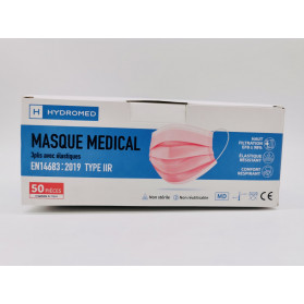 Masque chirurgical type IIR adulte ROSE boite de 50 pièces
