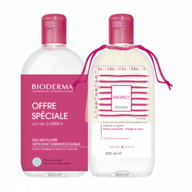 Bioderma Créaline H2O Solution Micellaire Lot de 2 x 500 ml + 2 cotons lavables OFFERTS