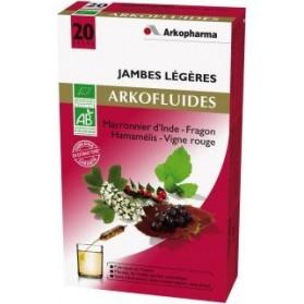 Arkofluides Jambes légères Bio 20 ampoules buvables de 15ml