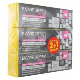 Gifrer Bicare Gifrer Plus Dentifrice Blanchissant au Charbon Végétal Lot de 3 x 75 ml dont 1 Offert