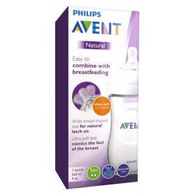Avent Natural Biberon 260 ml 1 Mois et + - Couleur : Transparent
