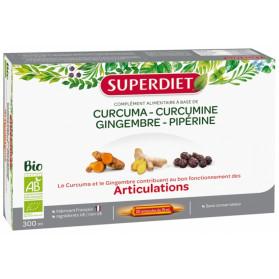 Super Diet Curcuma Curcumine Gingembre Pipérine Articulations Bio 20 Ampoules