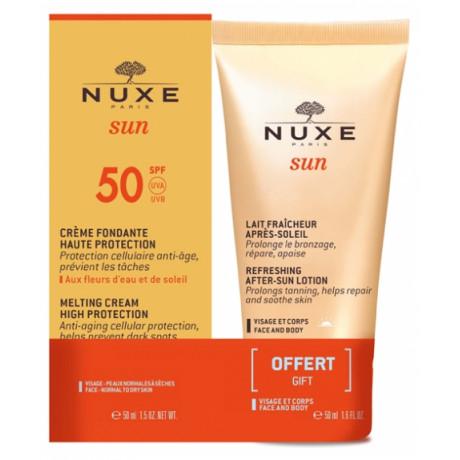 Nuxe Sun Crème Fondante Visage SPF50 50 ml + Lait Fraîcheur Après-Soleil 50 ml Offert