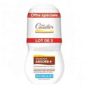 Rogé Cavaillès Absorb+ Déodorant Sans Parfum Roll'On Lot de 2 x 50ml