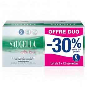 Saugella Cotton Touch Serviettes Extra Fines Nuit Avec Ailettes Lot de 2 x 12 protections