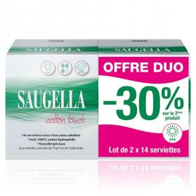 Saugella Cotton Touch Serviettes Extra Fines Jour avec Ailettes Lot de 2 x 14 protections