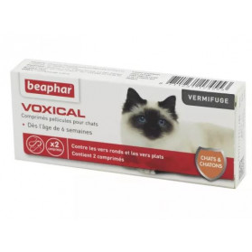 BEAPHAR VOXICAL Chat et Chaton Bte/2 - Vermifuge Vers Ronds, Vers Plats