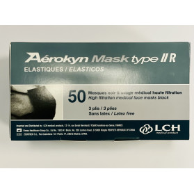Masques Chirurgicaux Type IIR Noirs boite de 50 masques