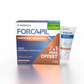 Forcapil Fortifiant Kératine + 180 gélules + shampooing fortifiant 30ml offert