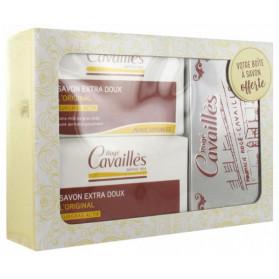 Rogé Cavaillès Savon Surgras Extra-Doux Lot de 2 x 250 g + Boîte à Savon Offerte