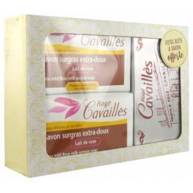 Rogé Cavaillès Savon Surgras Extra-Doux Lait de Rose Lot de 2 x 250 g + Boîte à Savon Offerte