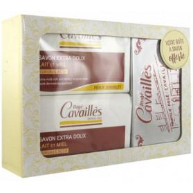 Rogé Cavaillès Savon Surgras Extra-Doux Lait et Miel Lot de 2 x 250 g + Boîte à Savon Offerte