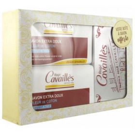 Rogé Cavaillès Savon Surgras Extra-Doux Fleur de Coton Lot de 2 x 250 g + Boîte à Savon Offerte
