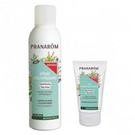Pranarom Aromaforce Spray Assainissant Ravintsara Tea Tree Bio 150ml + Gel Hydro Alcoolique 50ml Offert
