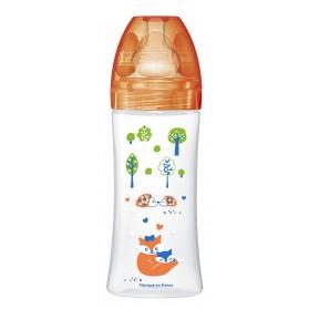 Dodie Biberon Sensation + 330 ml Orange Foret + 6 Mois Tétine Plate Débit 3