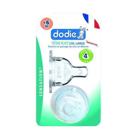 Dodie Tétine Plate Col Large + 6 Mois Silicone Débit 4 Spéciale Liquide Épais Transparent