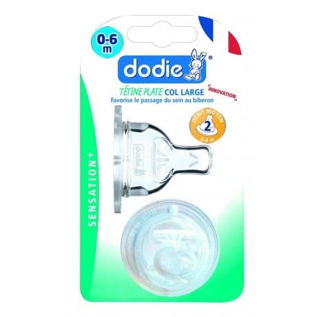 Dodie Tétine Plate Col Large 0-6 Mois Silicone Débit 2 Transparent