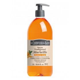 Le Comptoir du Bain Savon de Marseille Mandarine-Sauge Peaux Sensibles 1L