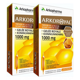 ARKOPHARMA ARKO ROYAL - 1000 mg - Gelée Royale - Lot de 2 x 20 ampoules